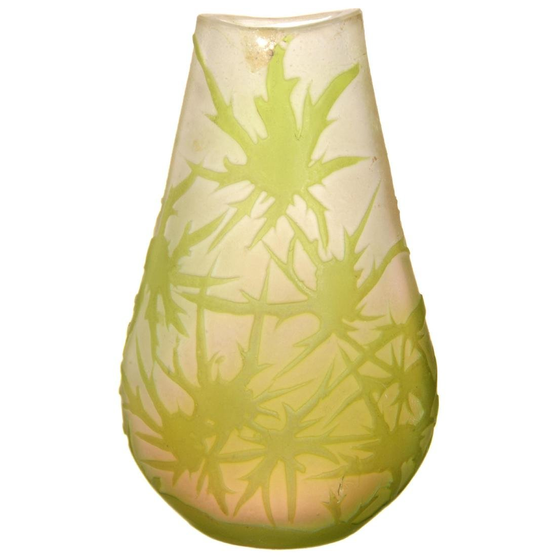 French Cameo Art Glass Vase - 2