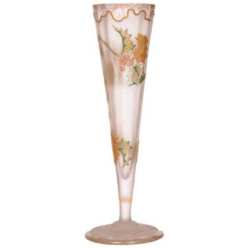 French Cameo Art Glass Trumpet Vase