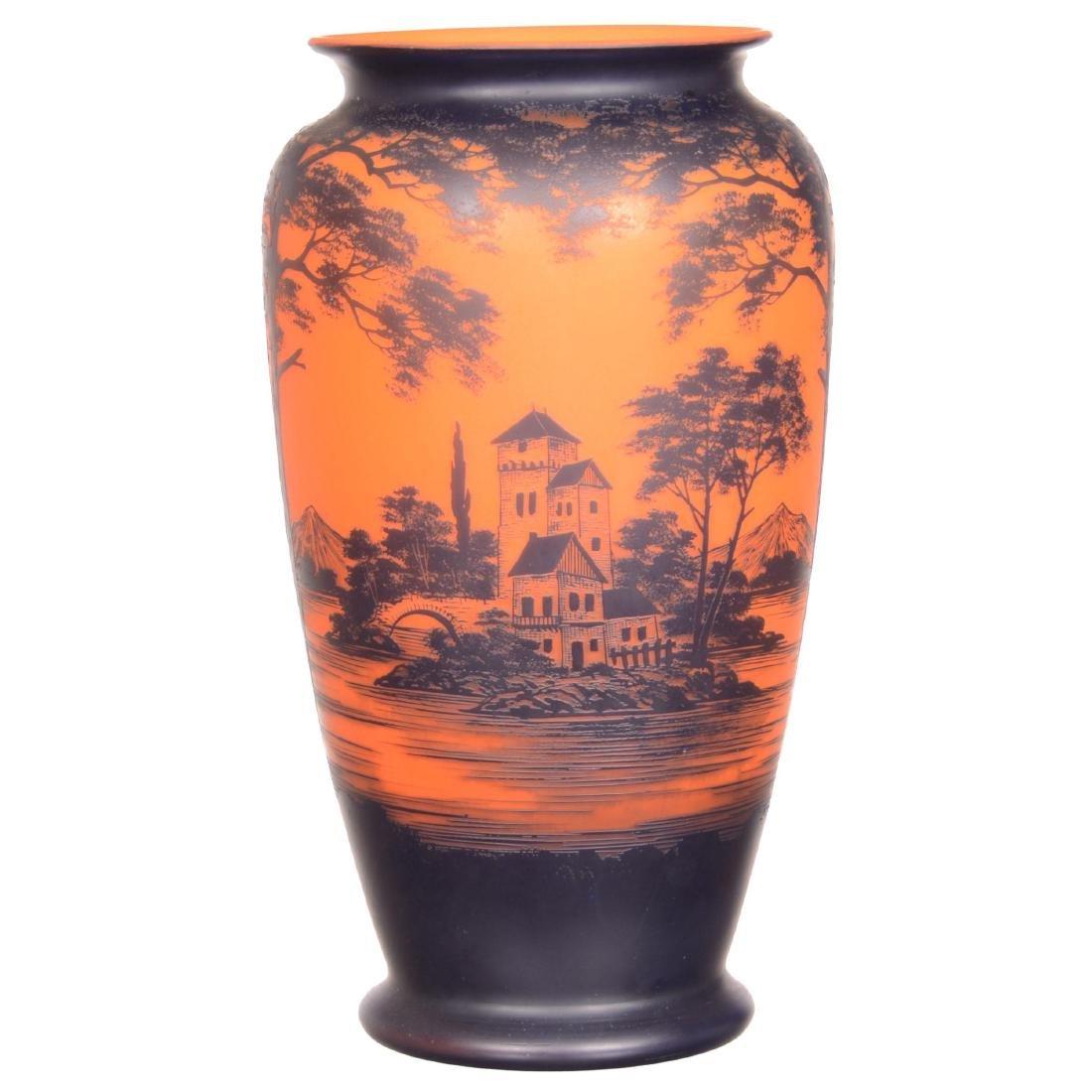 Large French Cameo Art Glass Vase