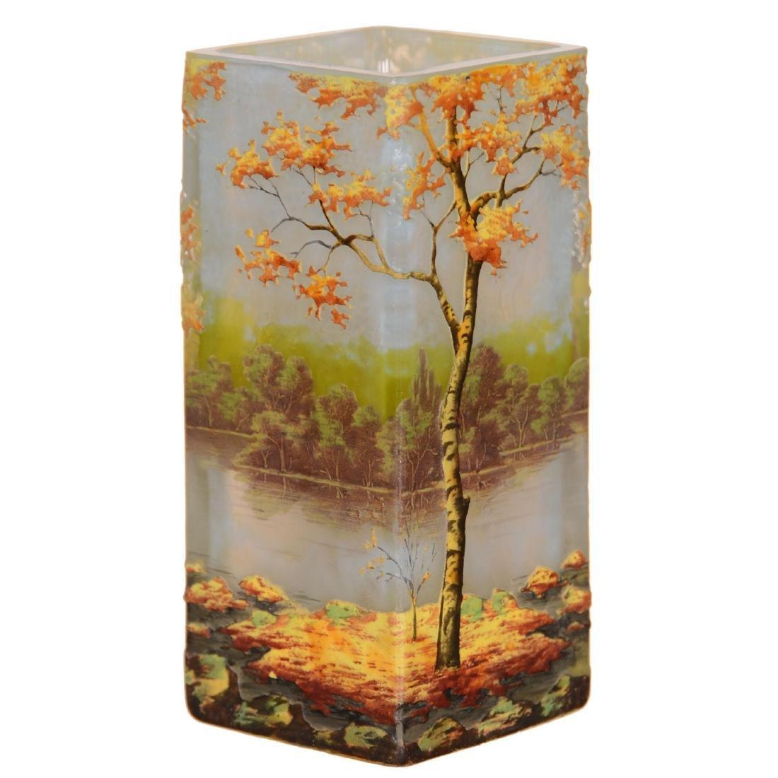 Daum Nancy French Cameo Art Glass Vase - 2
