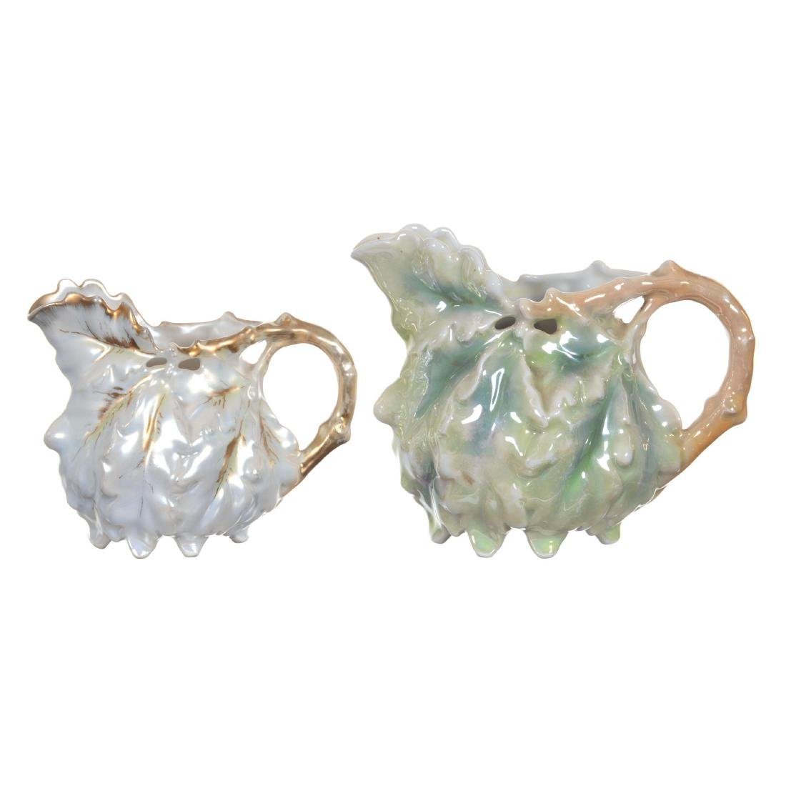 (2) Royal Bayreuth Oak Leaf Pitchers