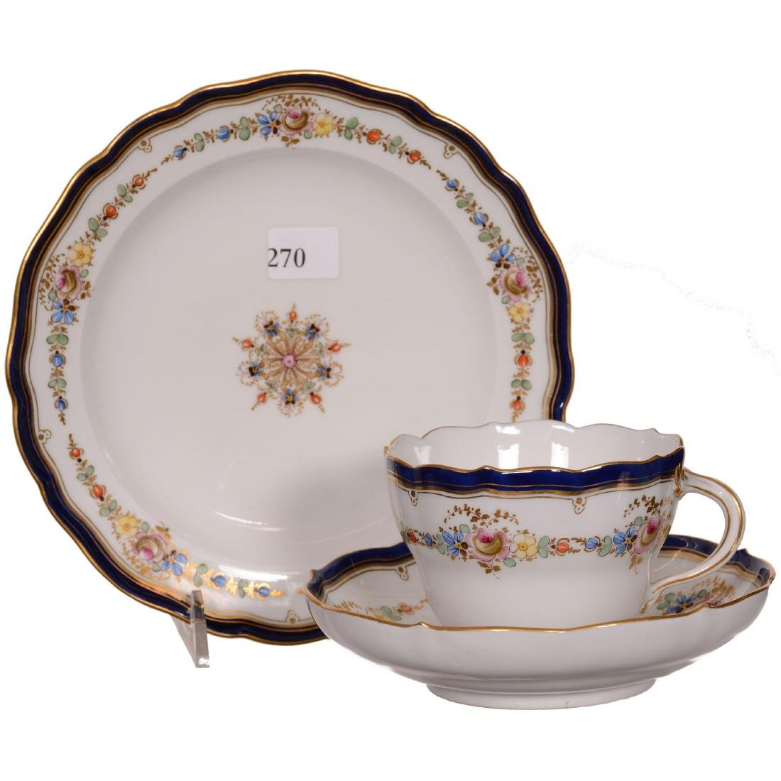 Three Piece Meissen (Blue Crossed Swords) Luncheon Set