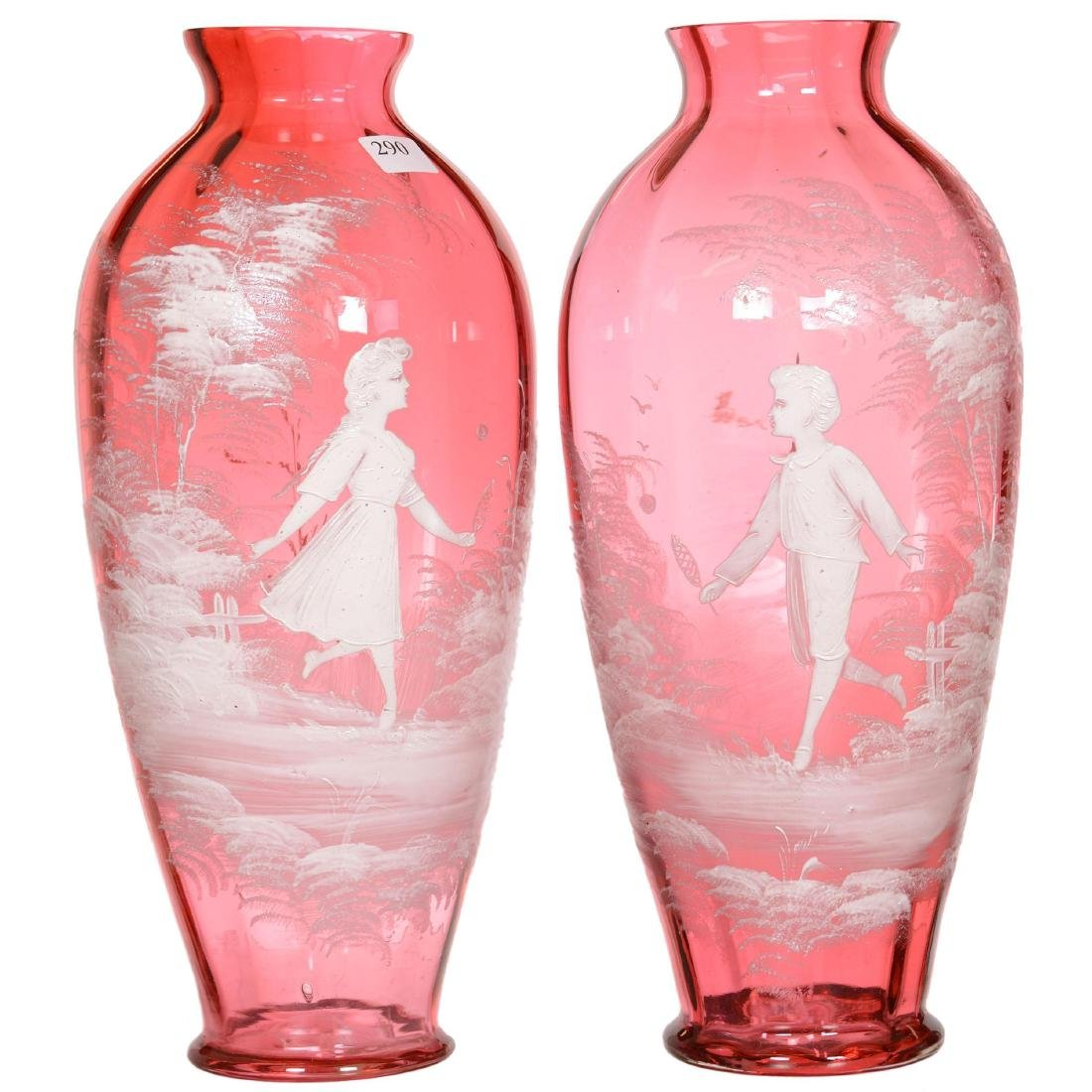 Pair Mary Gregory Cranberry Art Glass Vases