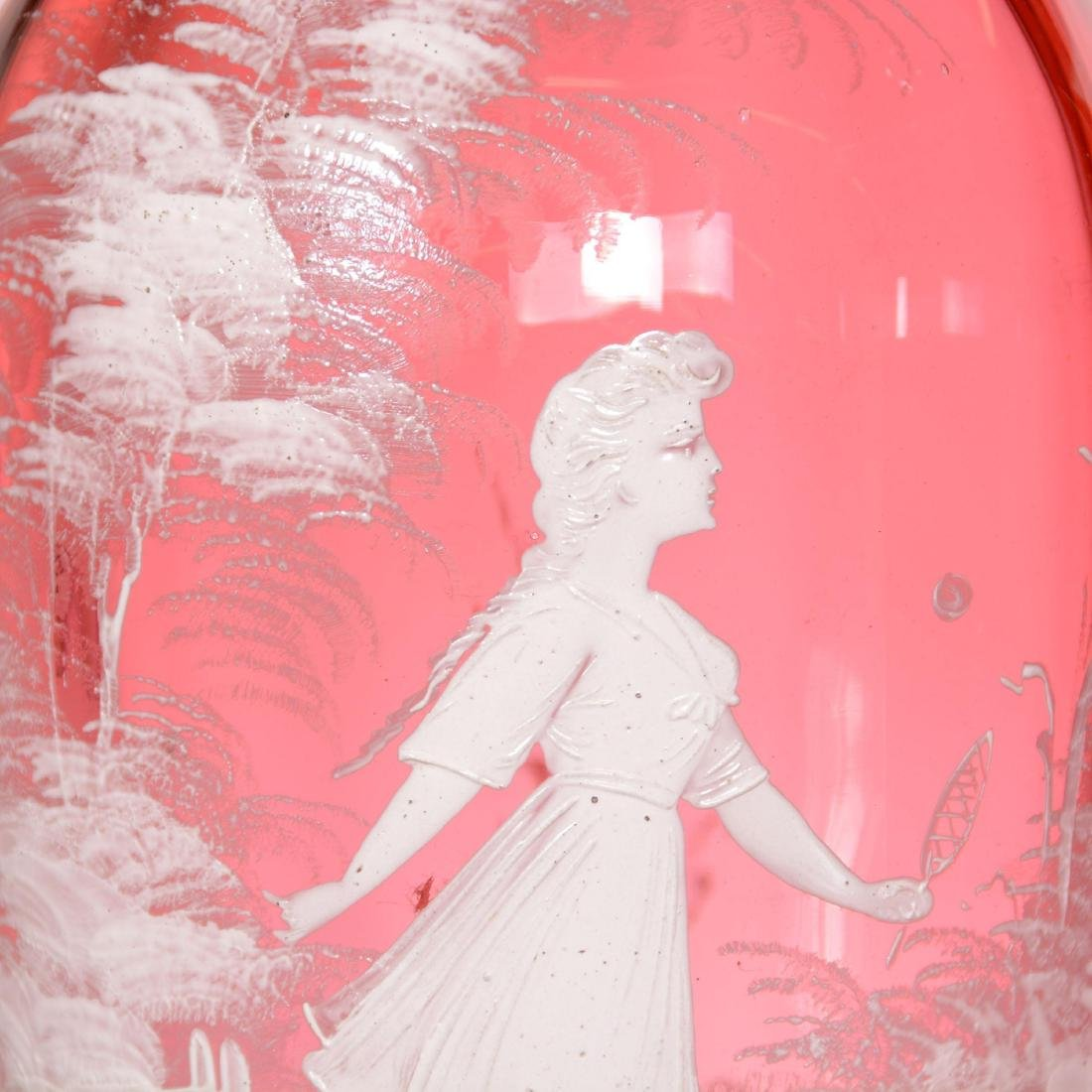Pair Mary Gregory Cranberry Art Glass Vases - 2