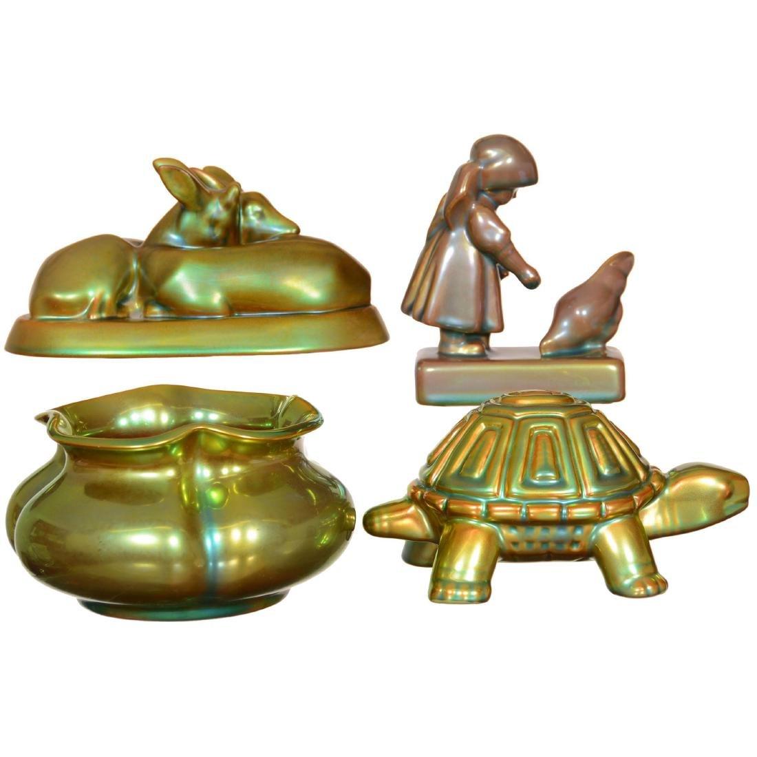 (4) Zsolnay Art Pottery Items