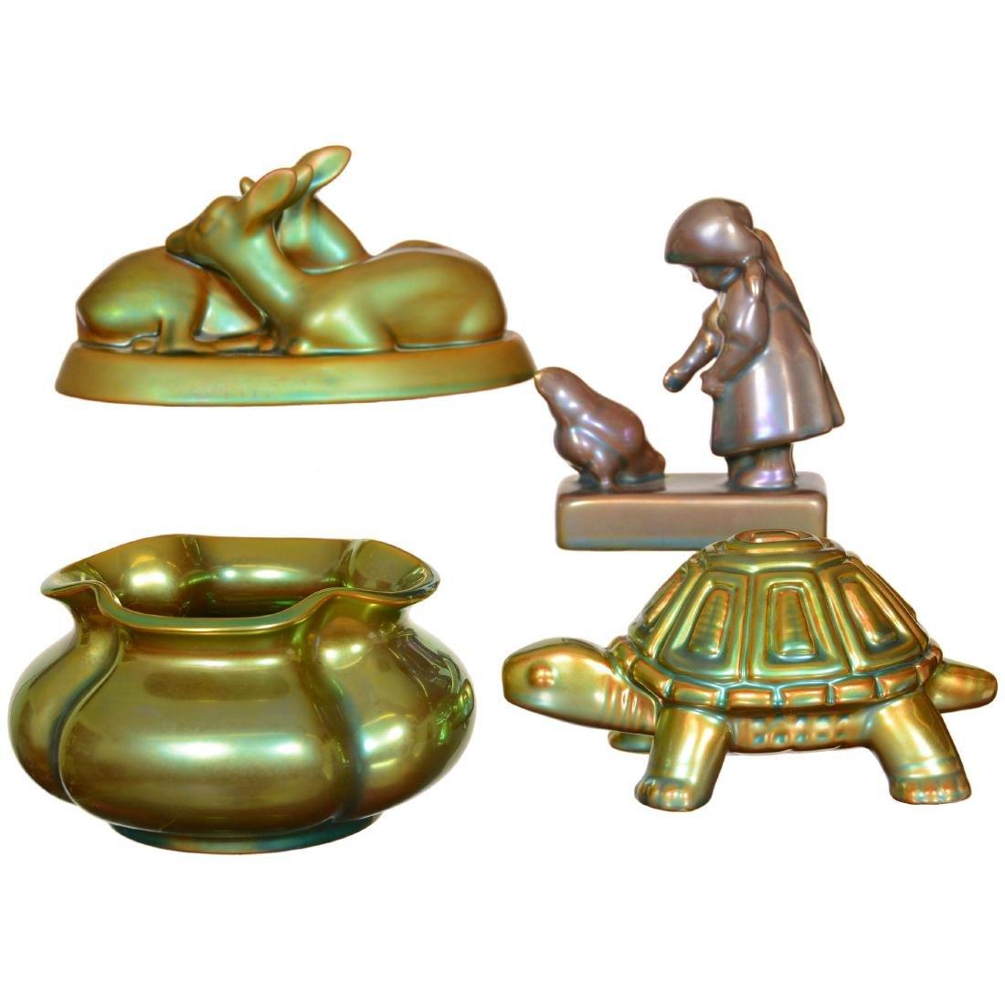 (4) Zsolnay Art Pottery Items - 2