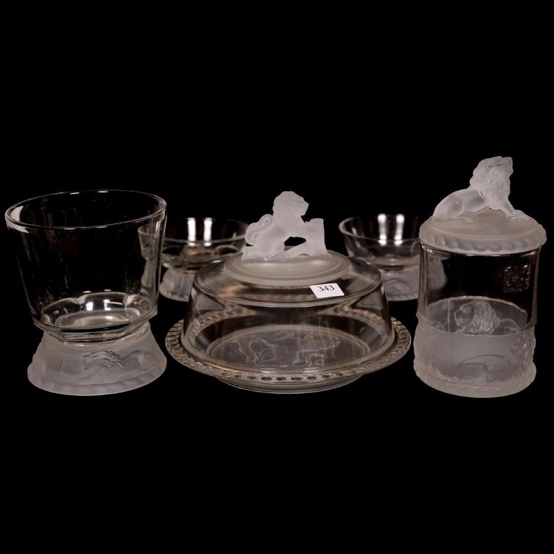 (5) Original Frosted Lion Pattern Glass Items