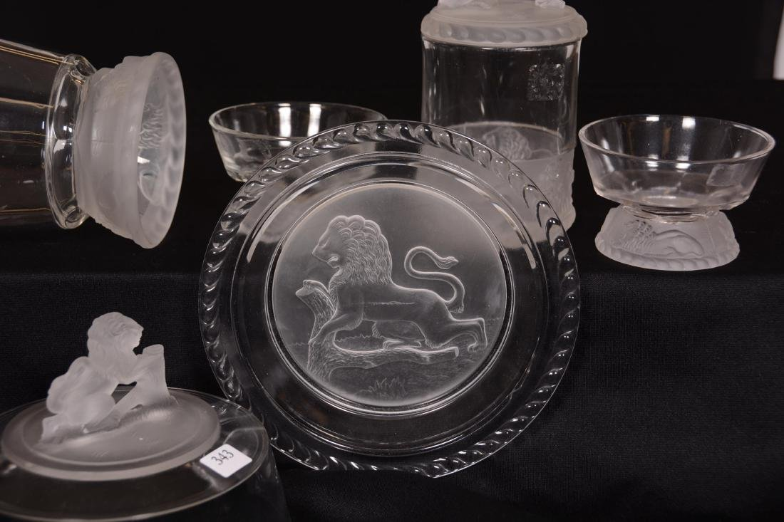 (5) Original Frosted Lion Pattern Glass Items - 4