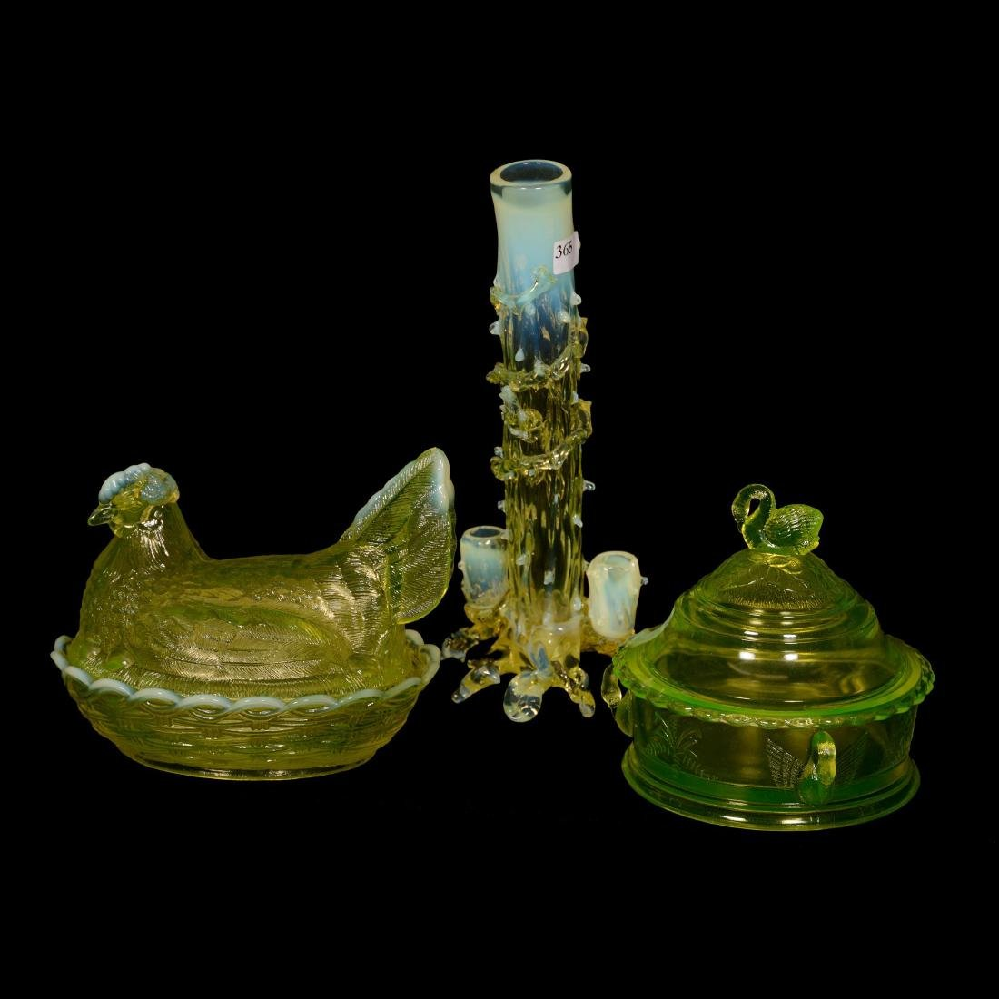 (3) Early Vaseline Art Glass Items