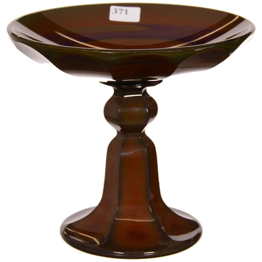 Bohemian Lithyalin Art Glass Compote