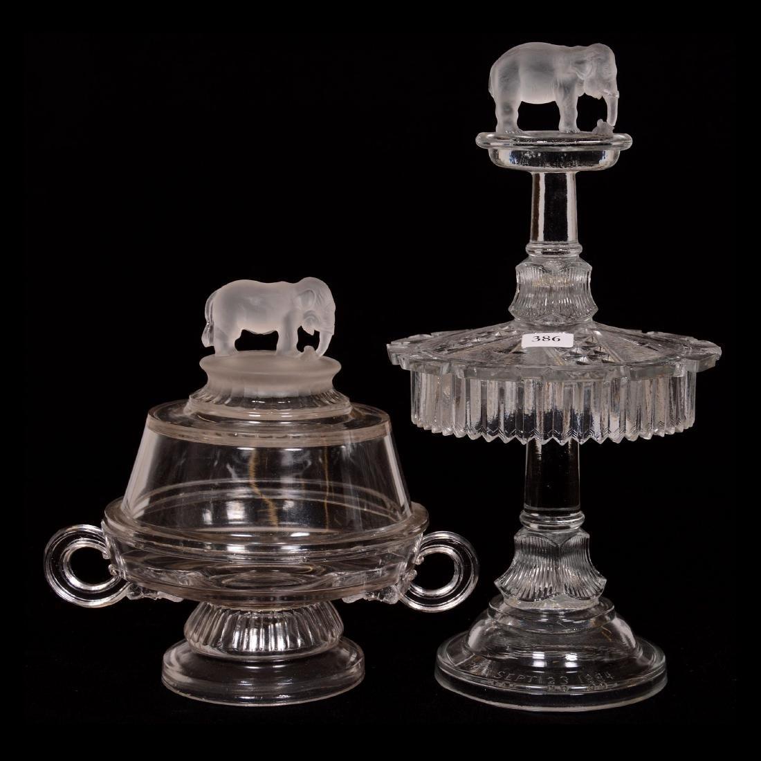 (2) Original Jumbo Pattern Glass Items