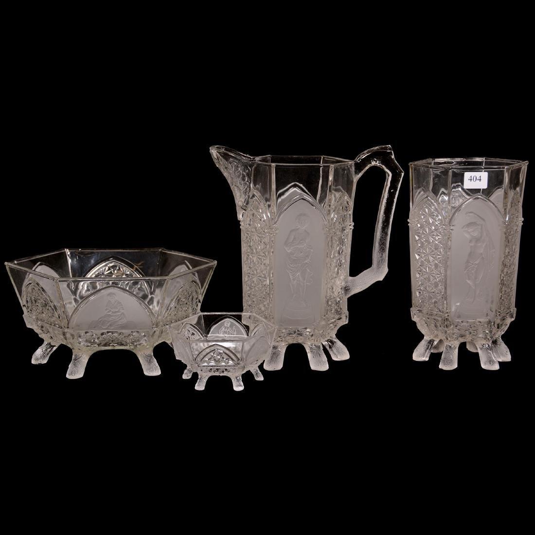 Four Piece Pattern Glass Set