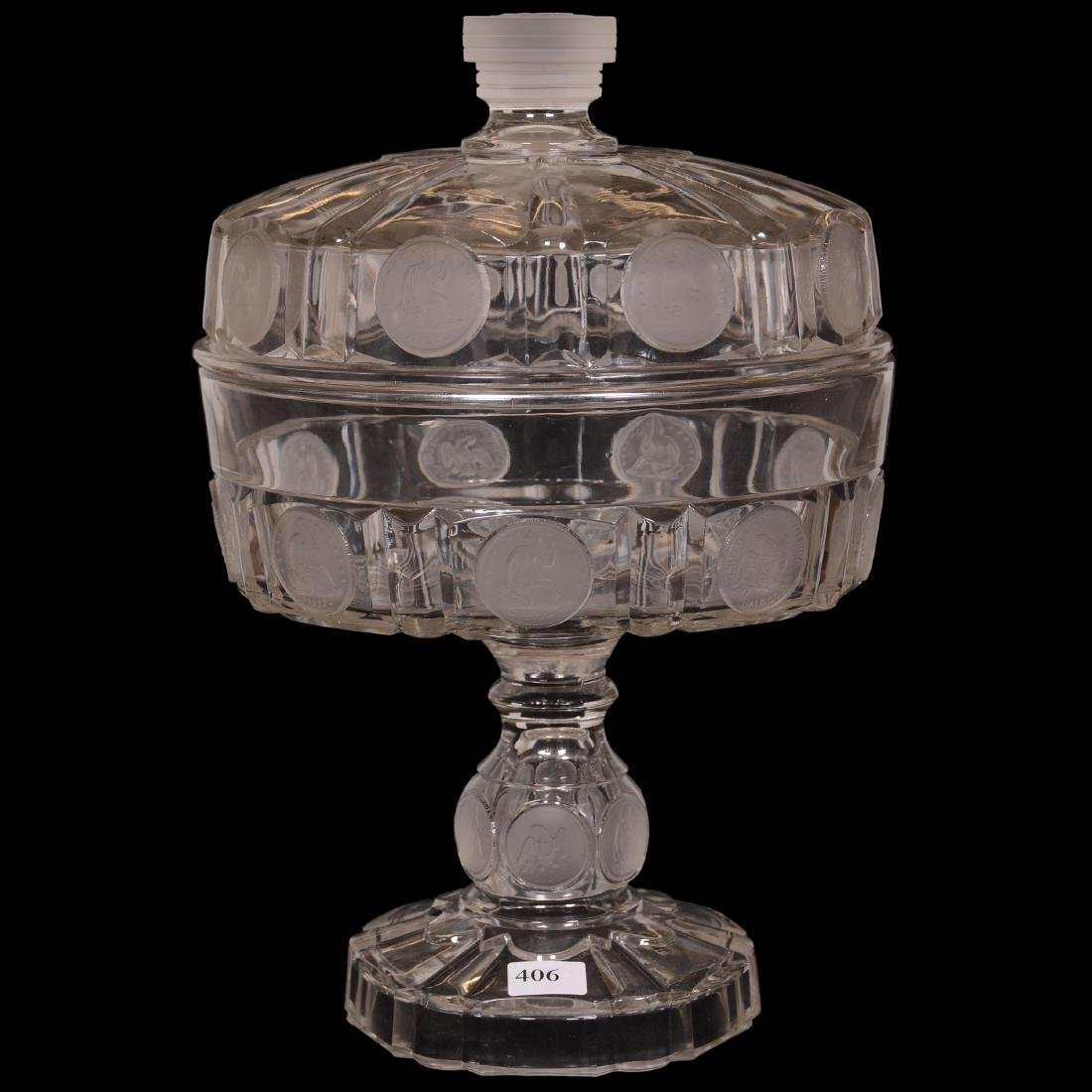 1892 American Coin Glass Covered Compote