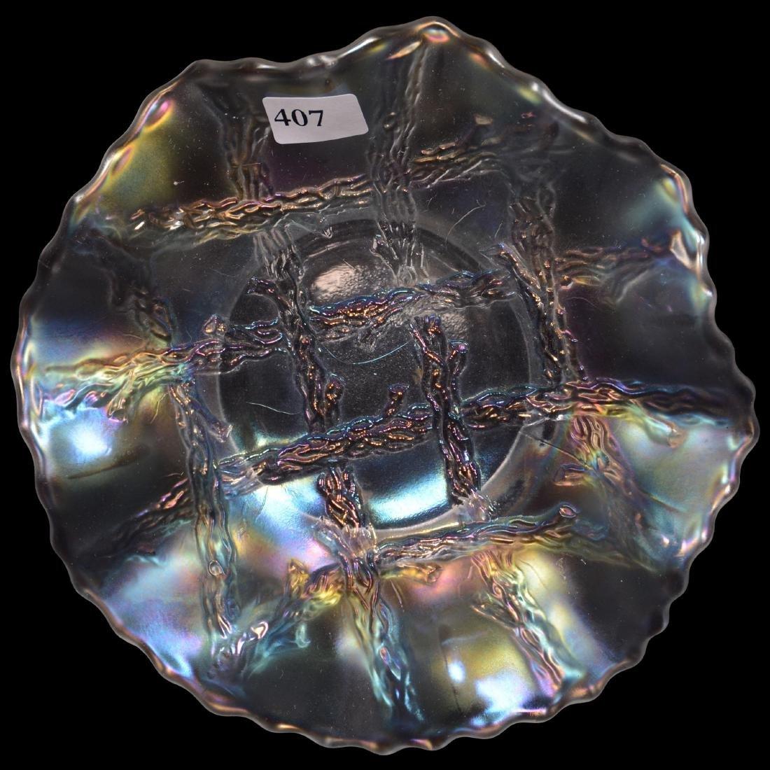 Carnival Glass Ruffled Plate