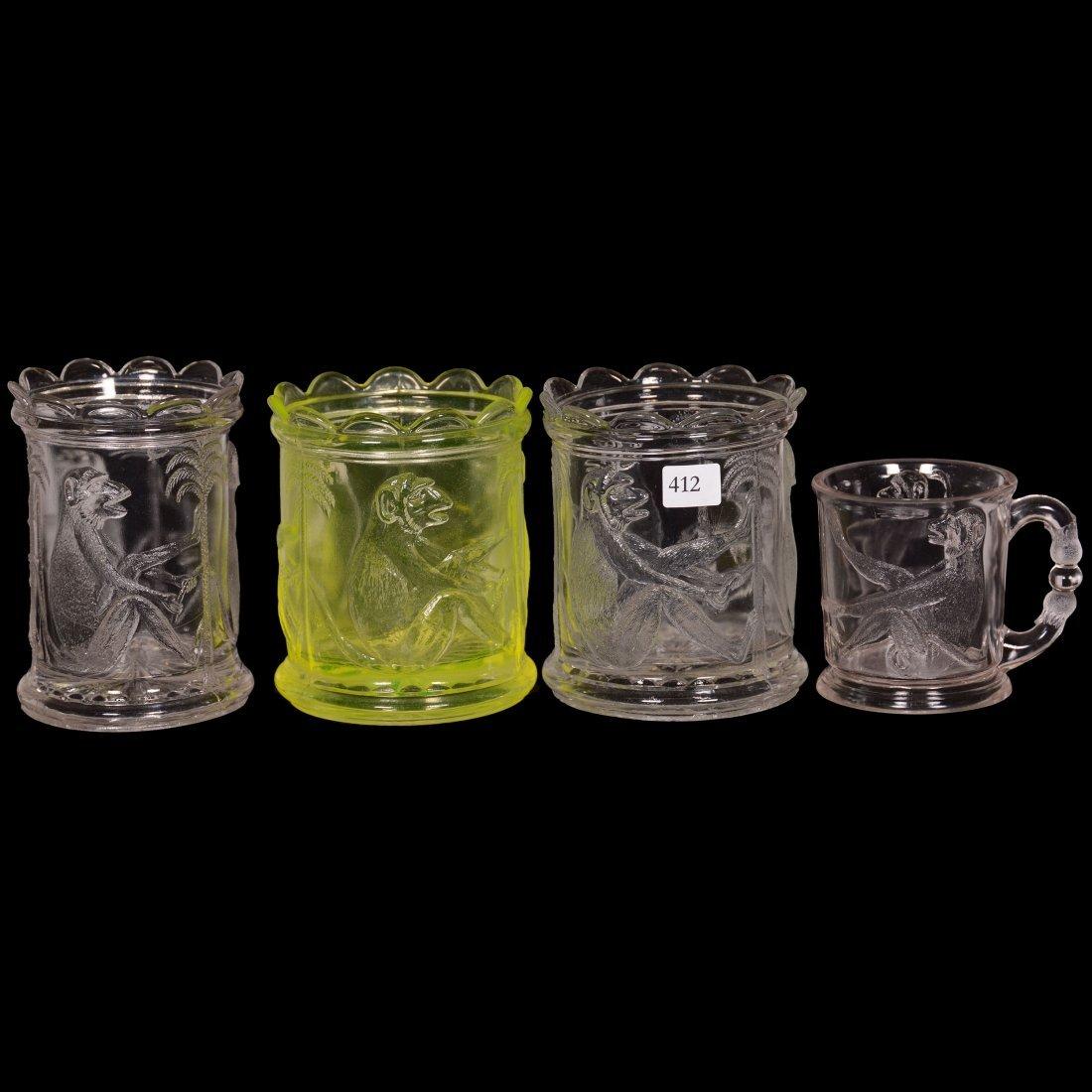 "(4) Pattern Glass ""Monkey"" Pattern Items"