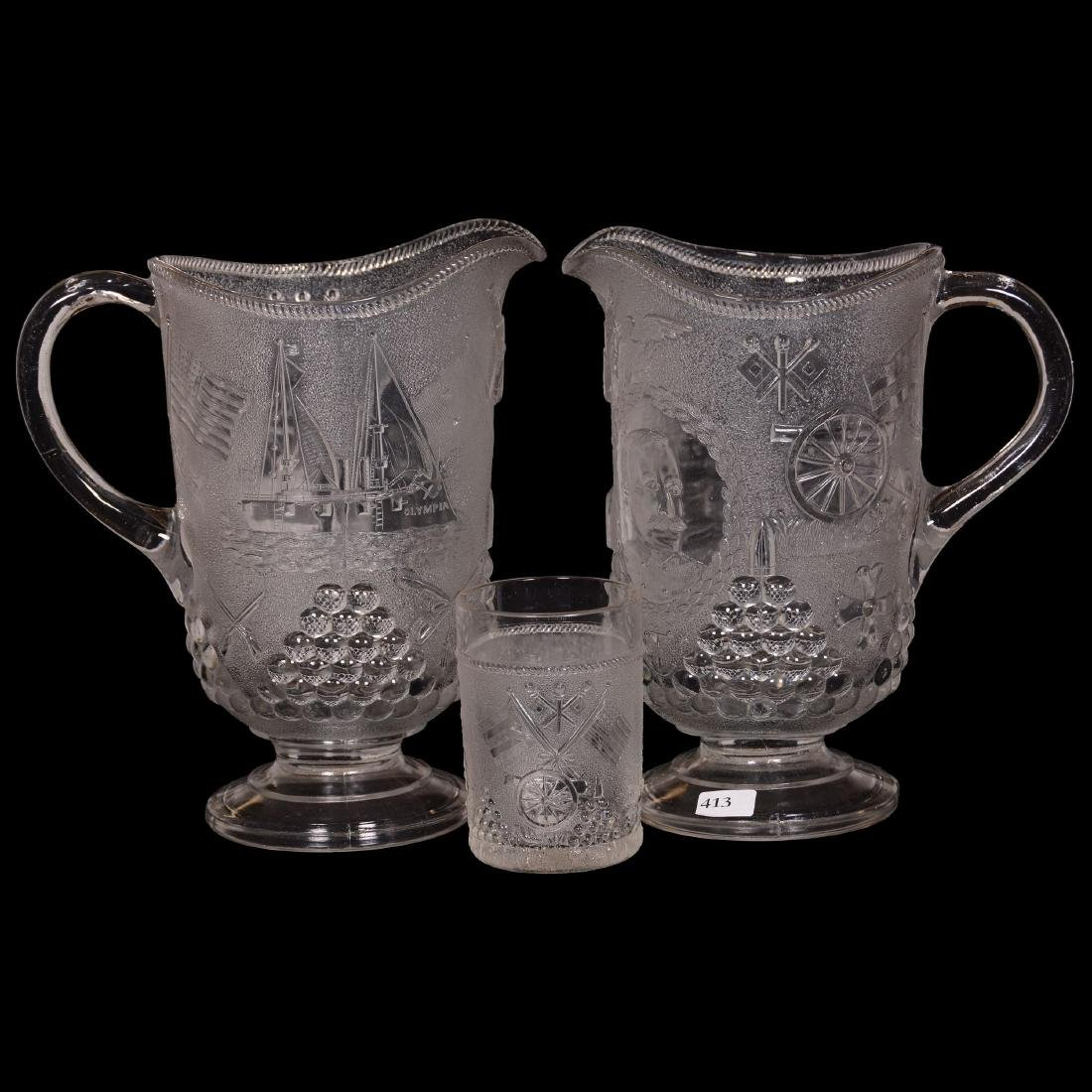 (2) Pattern Glass Water Pitchers