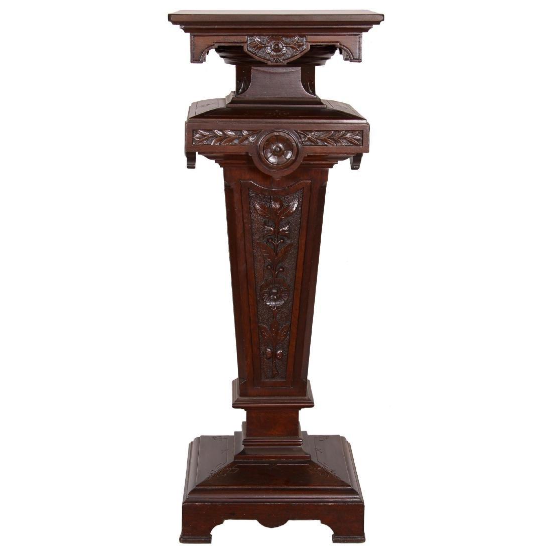 Carved Walnut Pedestal