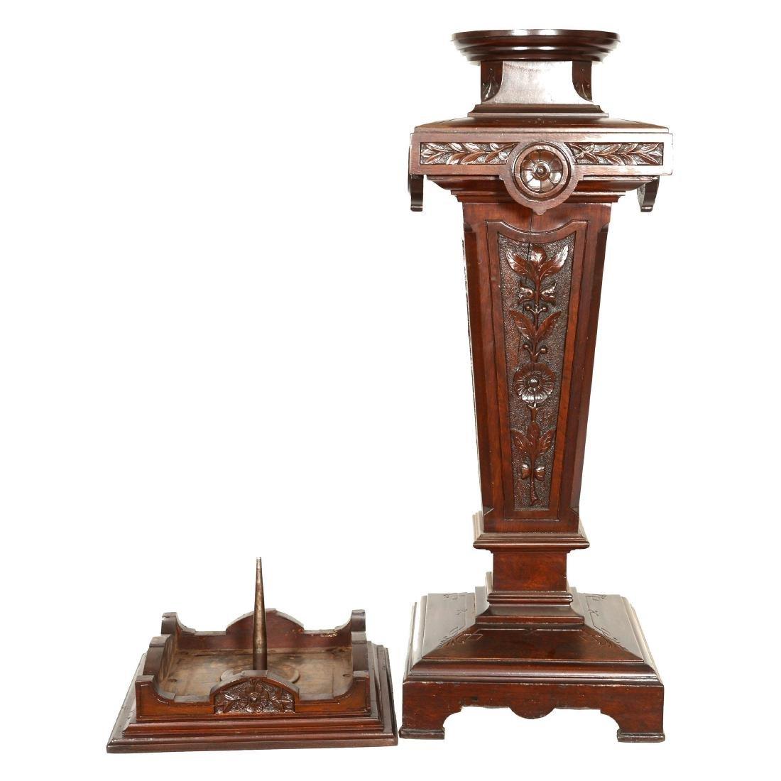 Carved Walnut Pedestal - 3