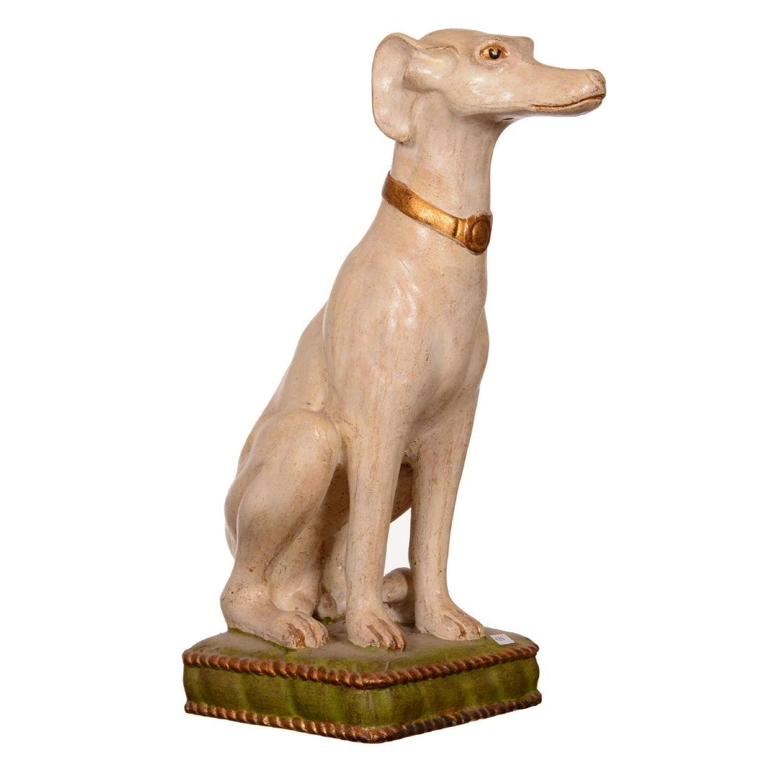 Painted Terra Cotta Figure of Seated Dog