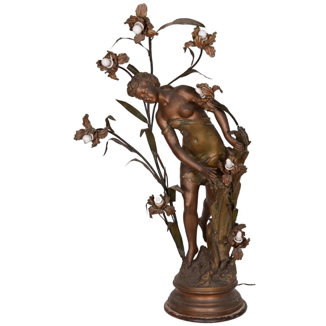 Elaborate Figural French Lamp