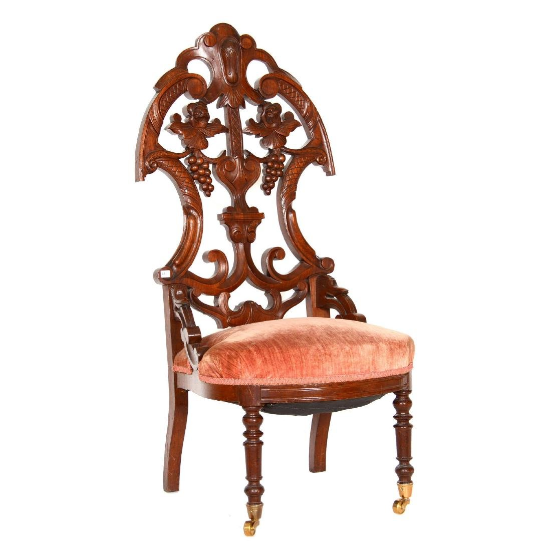 Victorian Walnut High Back Parlor Chair