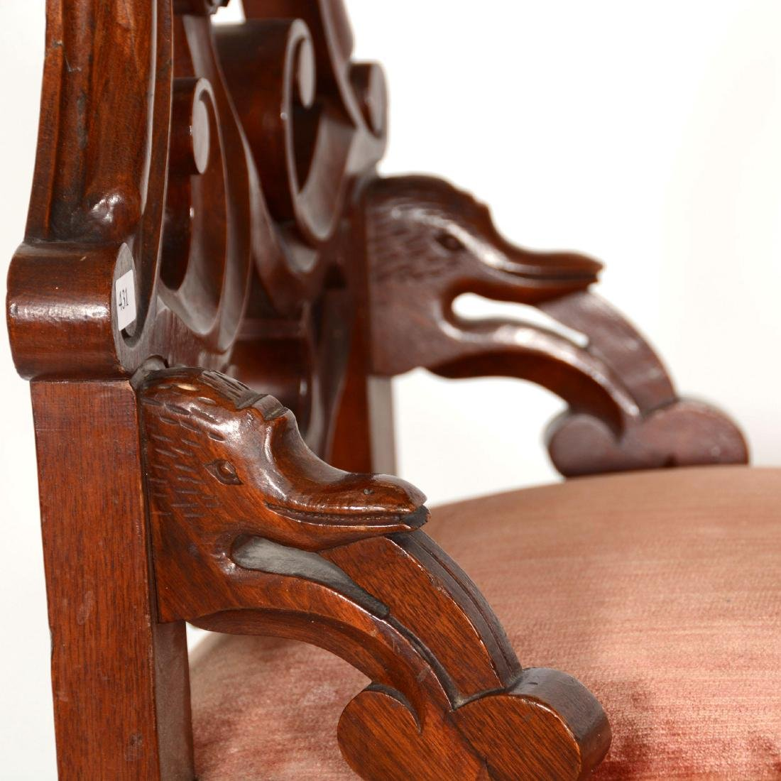 Victorian Walnut High Back Parlor Chair - 3