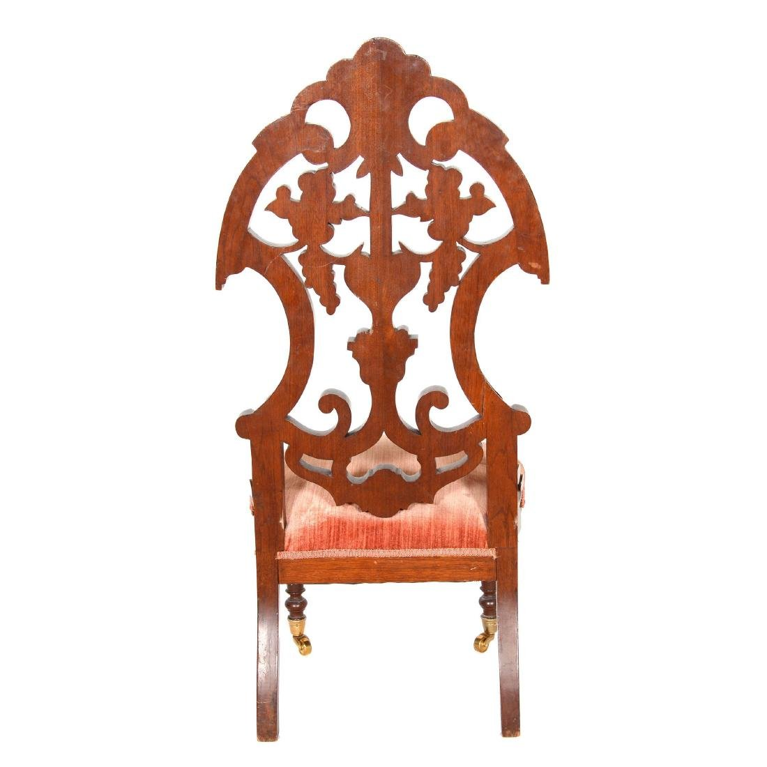 Victorian Walnut High Back Parlor Chair - 4