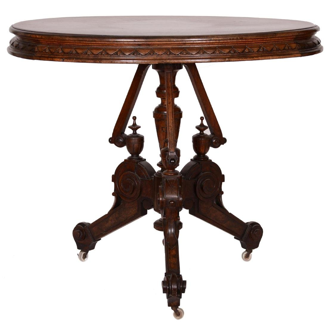 Victorian Walnut Oval Parlor Table
