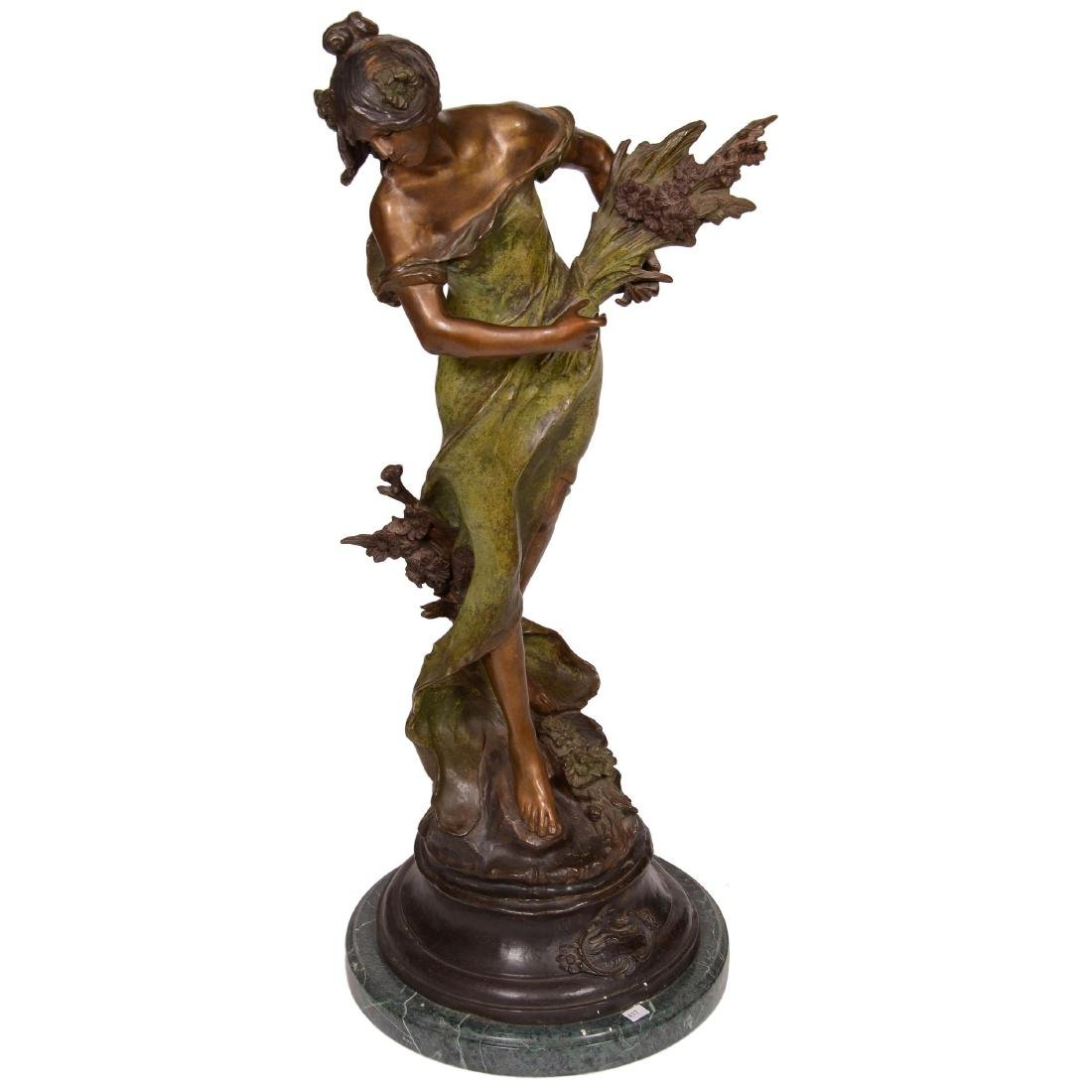 Bronze Sculpture of Woman Holding Sheaf of Wheat