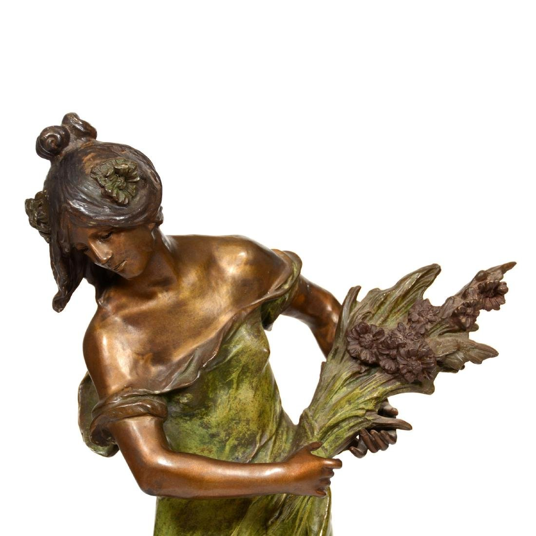 Bronze Sculpture of Woman Holding Sheaf of Wheat - 2