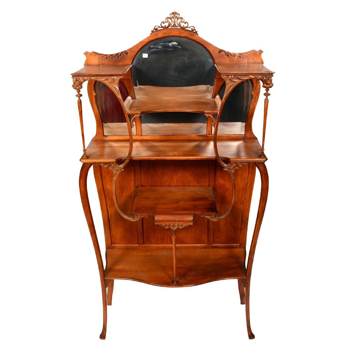 Delicately Carved Etagere