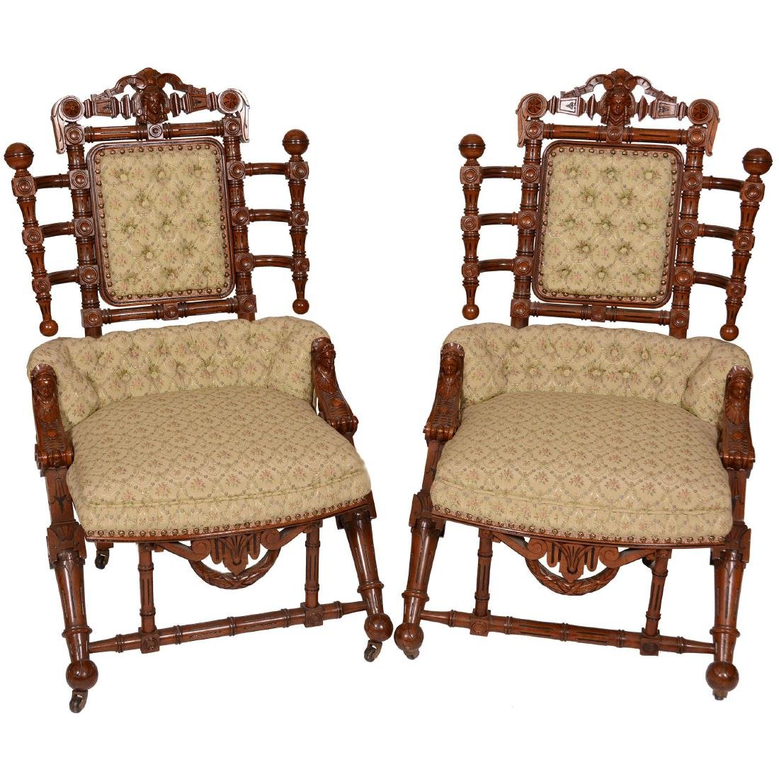 (2)Original Marked Hunzinger Renaissance Revival Chairs