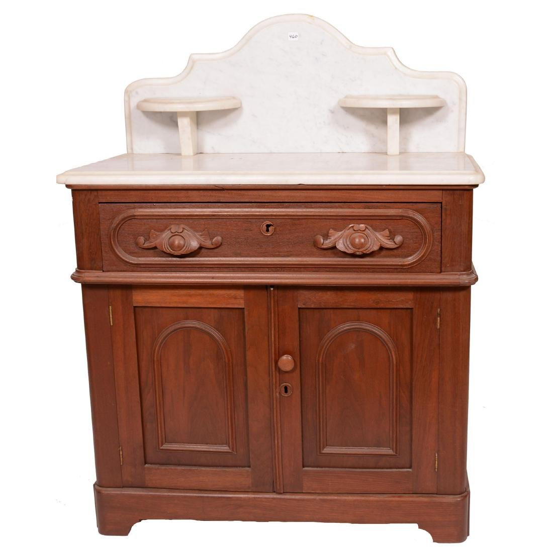 Walnut Commode with White Marble Top and Backsplash