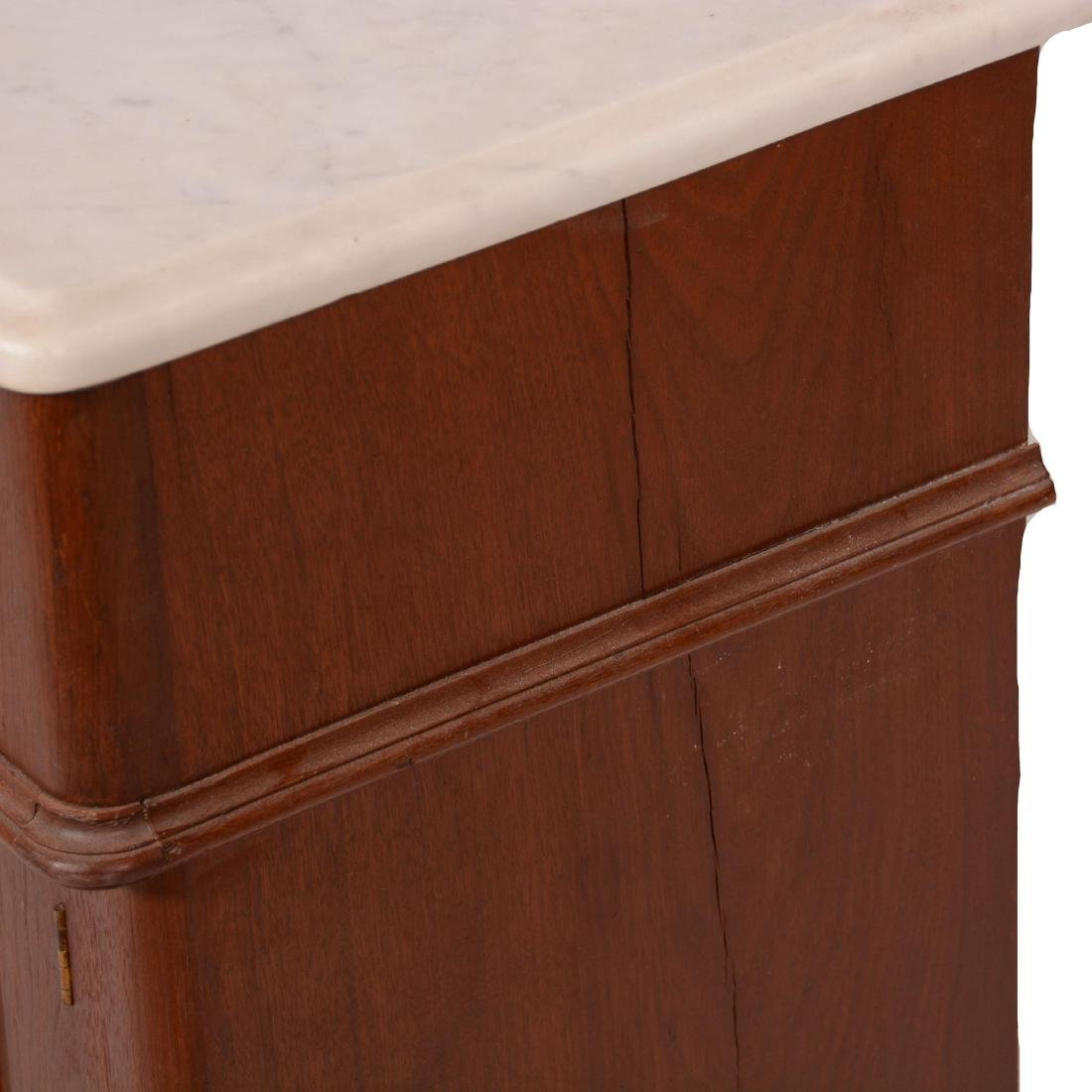 Walnut Commode with White Marble Top and Backsplash - 2