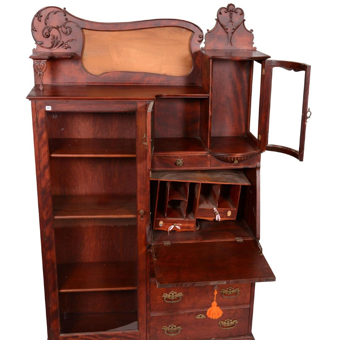 Mahogany Secretary with Display Case - 4