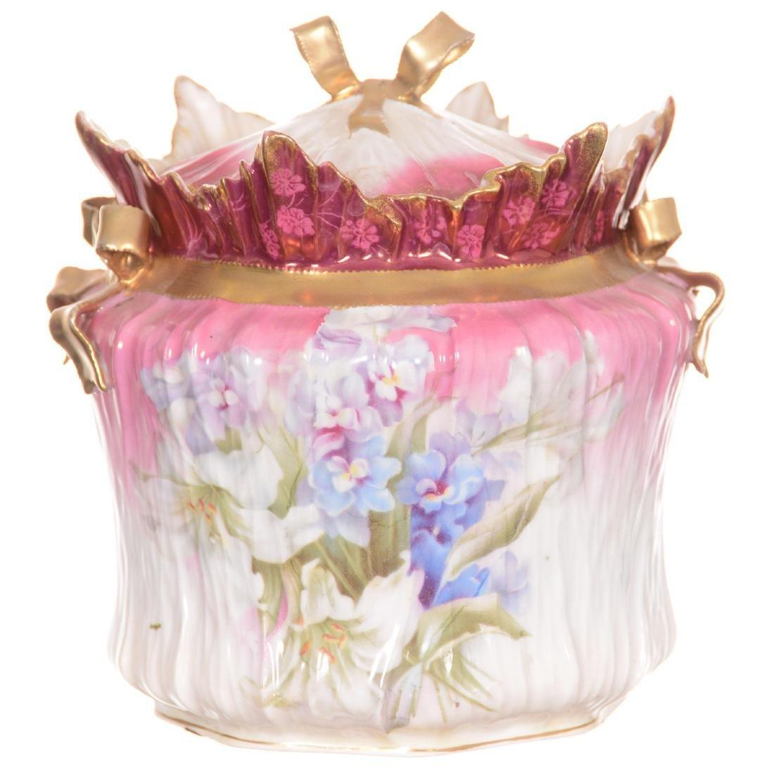 Unmarked R.S. Prussia Bowtie Mold Biscuit Jar
