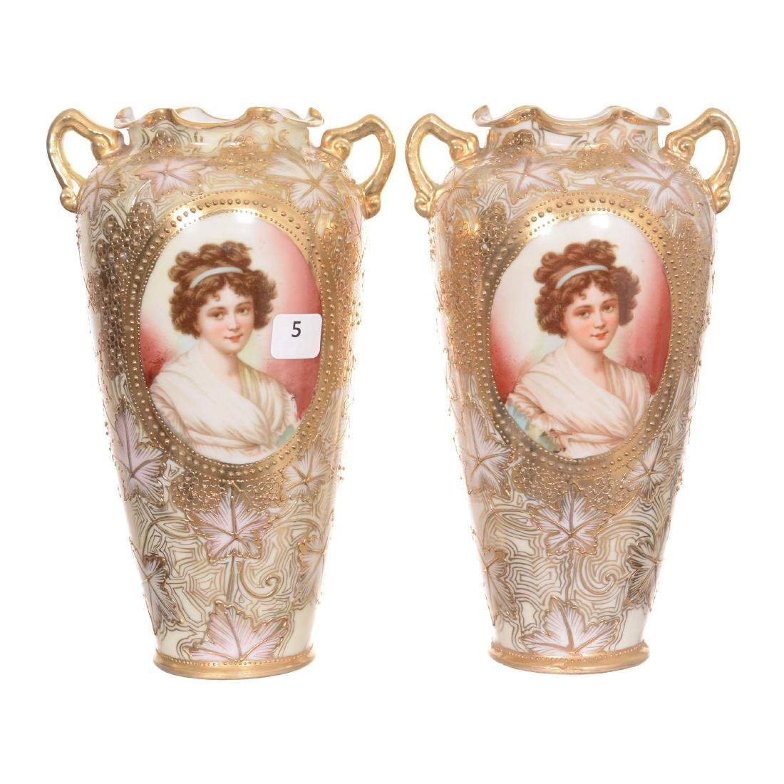Pair Unmarked Nippon Two-Handled Vases