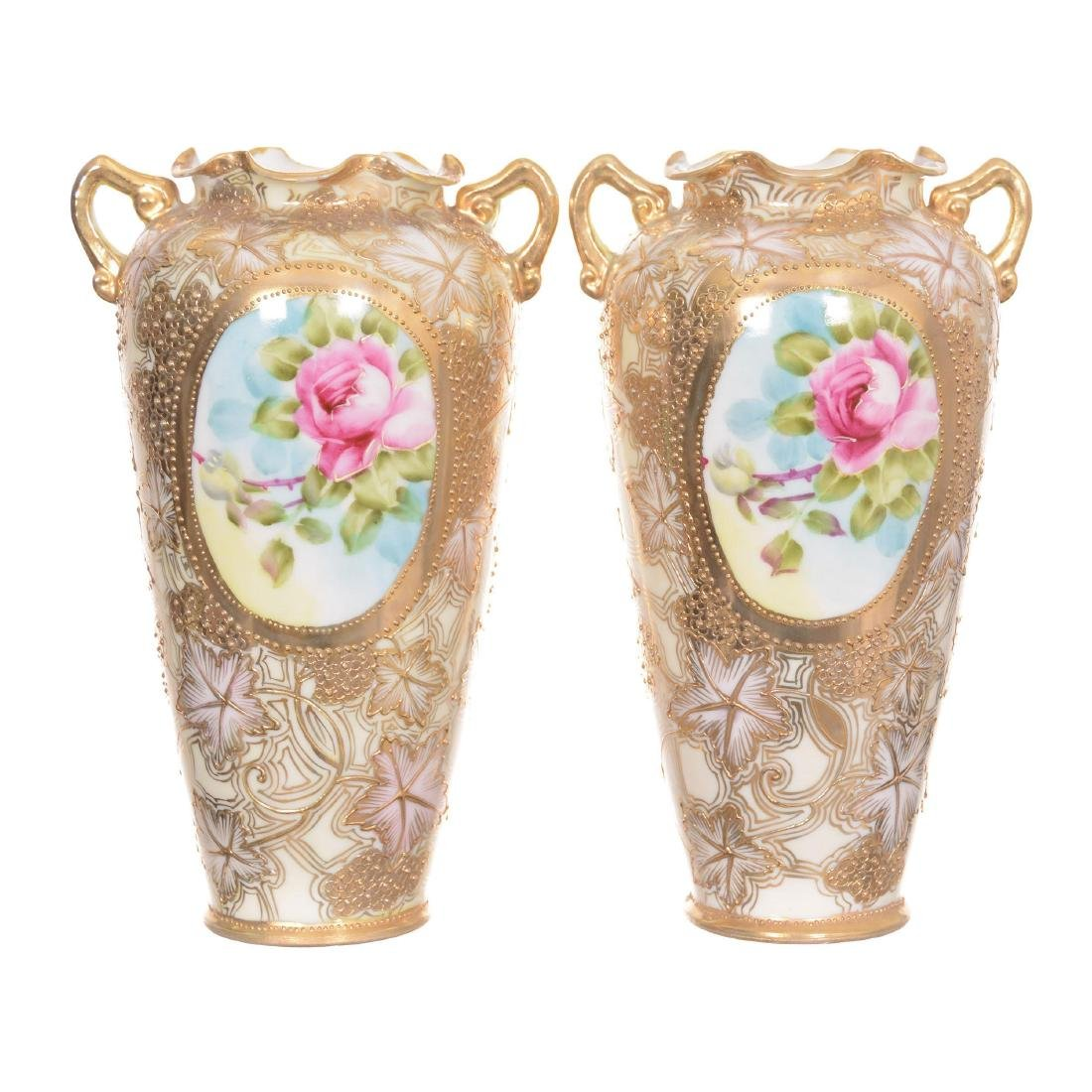 Pair Unmarked Nippon Two-Handled Vases - 2