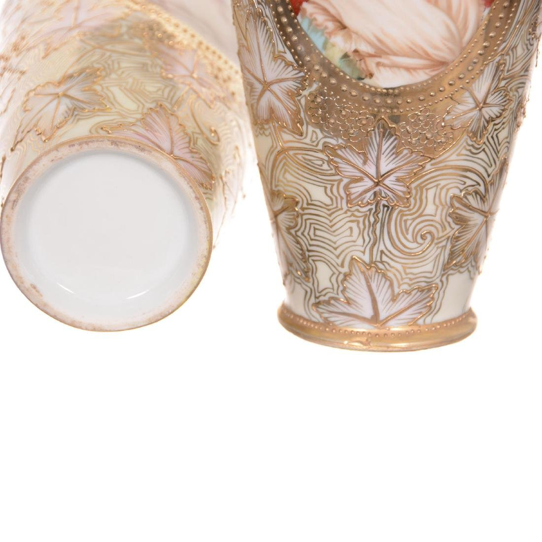 Pair Unmarked Nippon Two-Handled Vases - 4