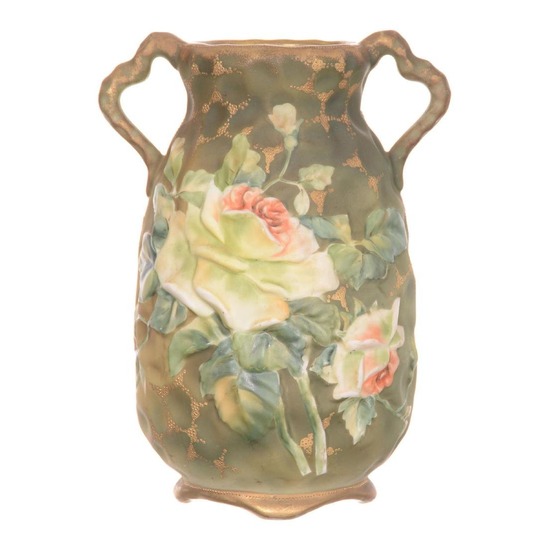Nippon Blown Mold Two-Handled Vase