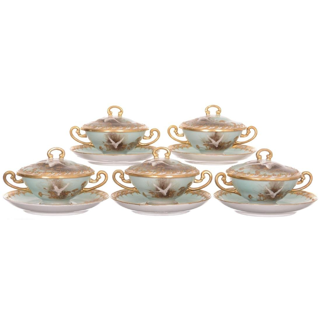 (5) Nippon Covered Consomme Cups and Saucers