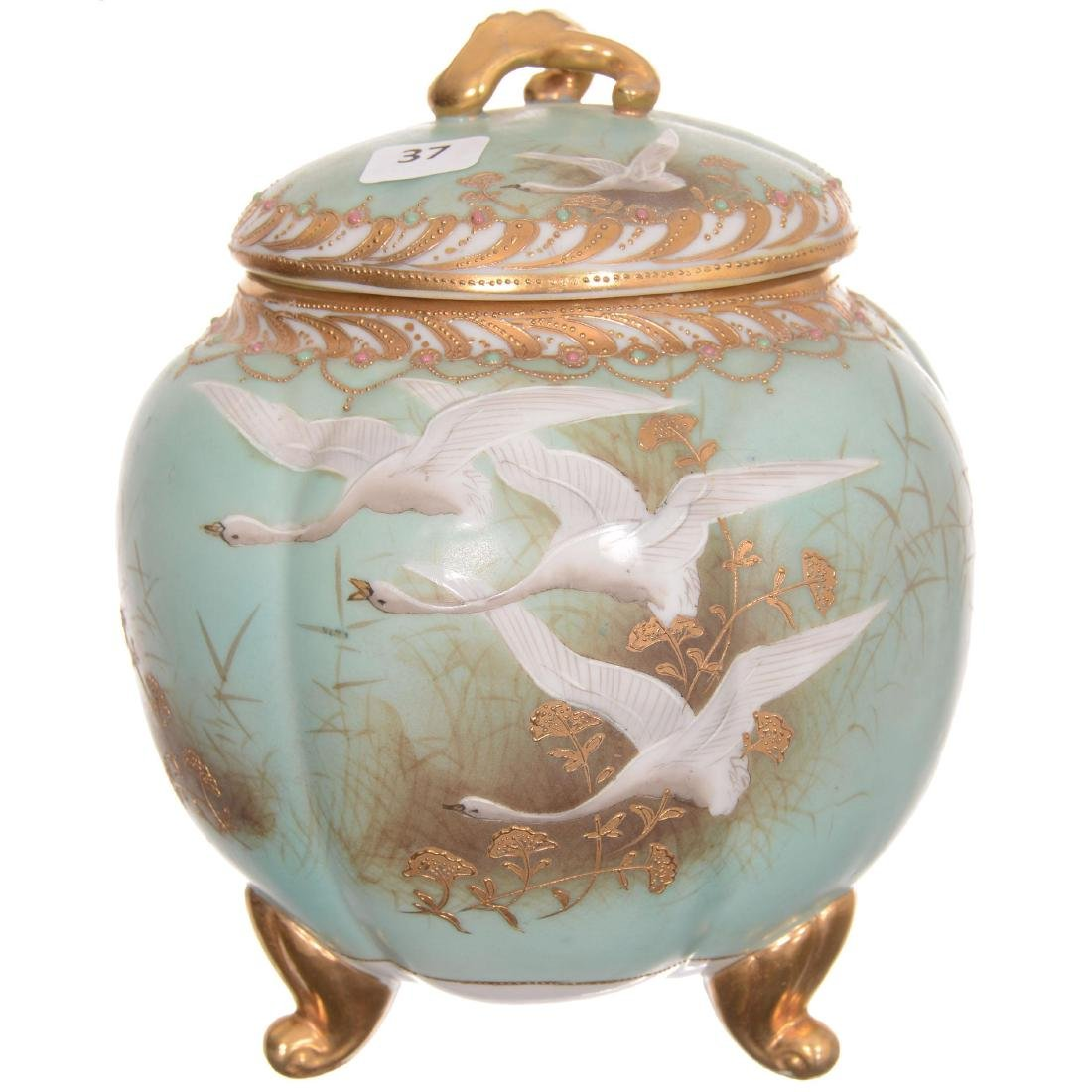 Nippon Three Footed Covered Biscuit Jar