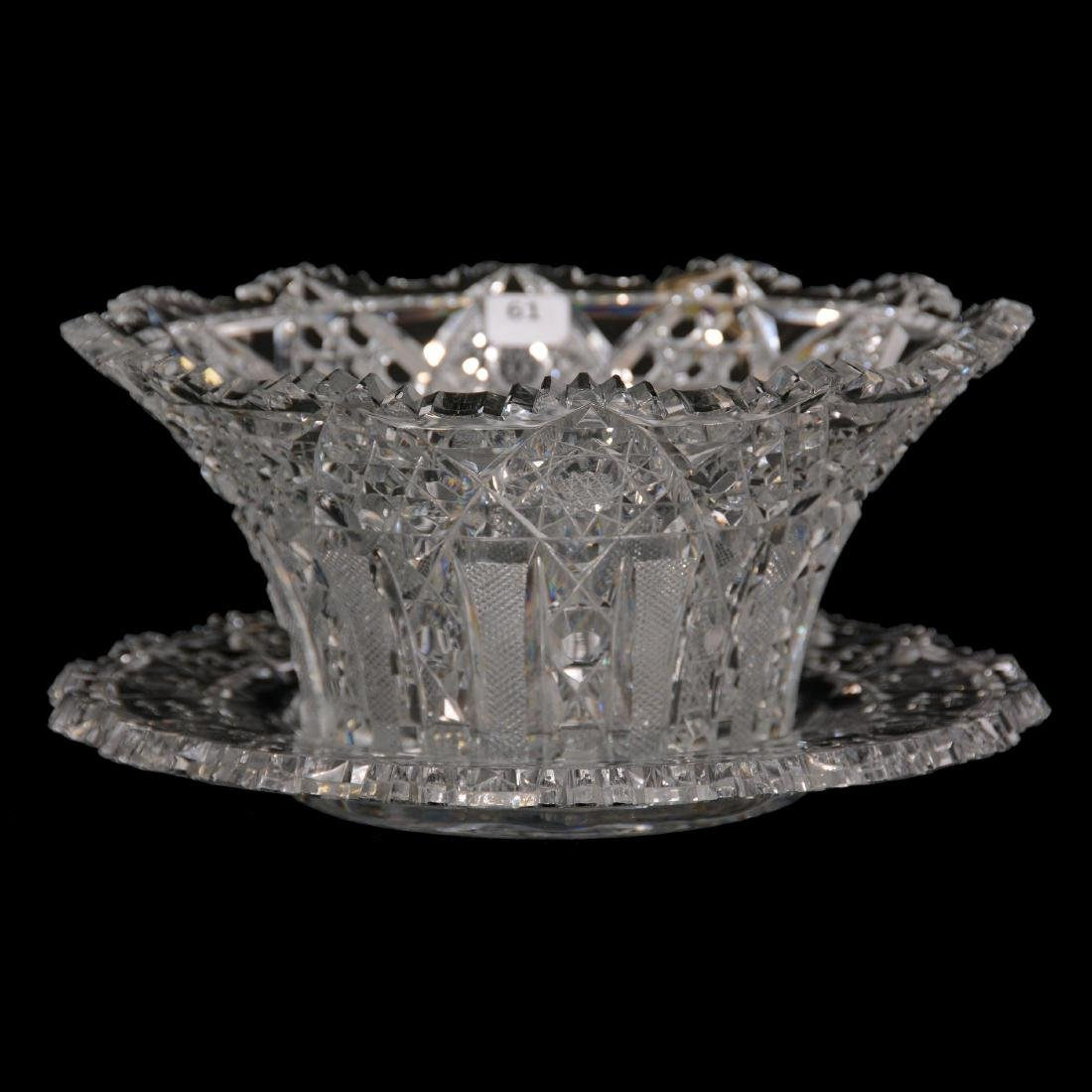 American Brilliant Cut Glass Salad Bowl and Underplate