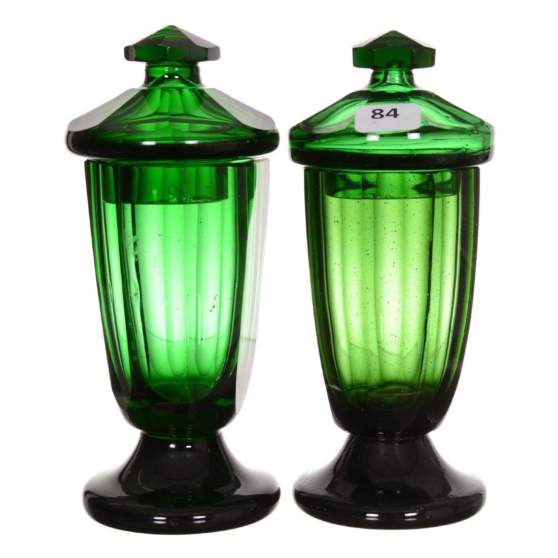 Pair Emerald Green Art Glass Covered Jars