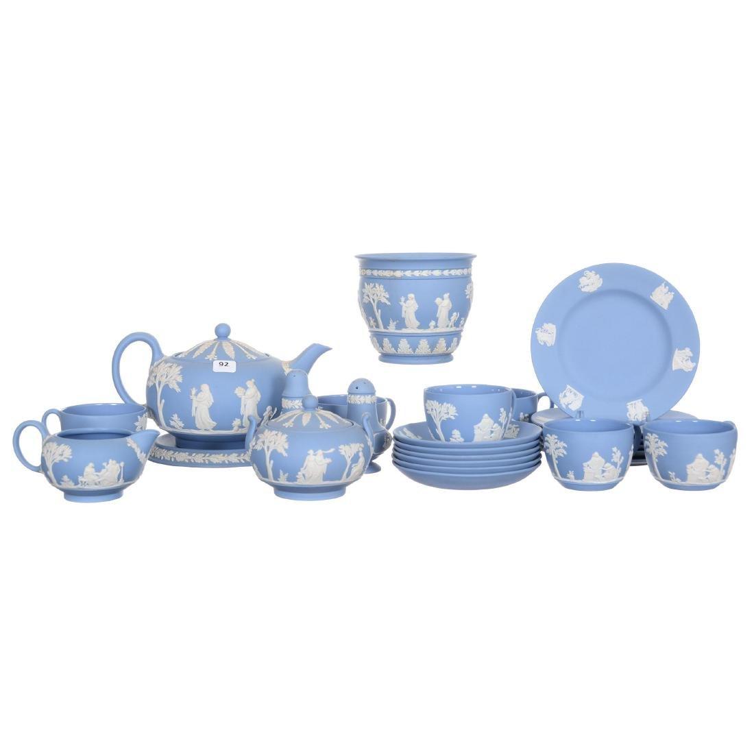 Large Wedgwood Blue and White Jasper Table Set