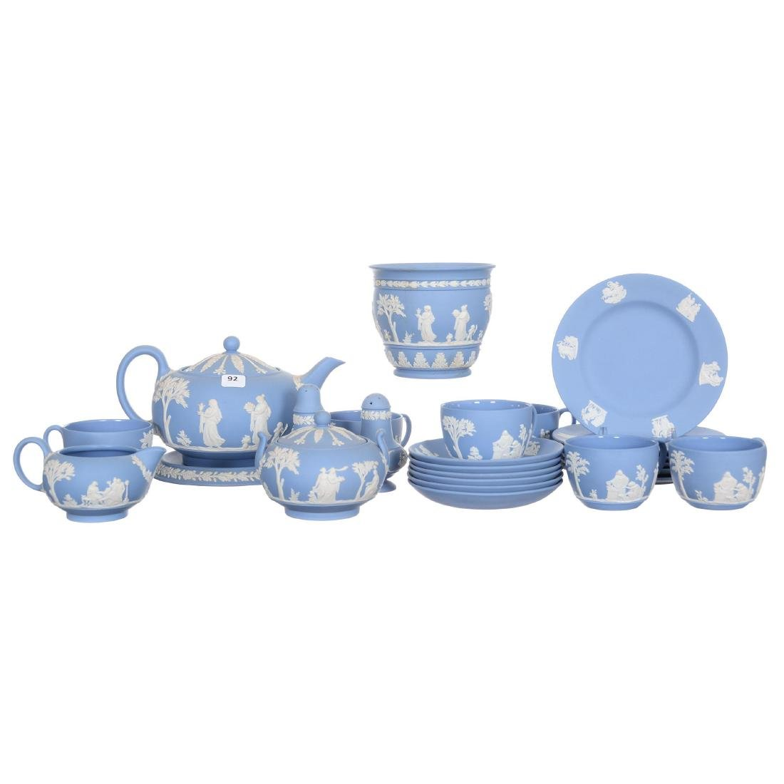 Large Wedgwood Blue and White Jasper Table Set
