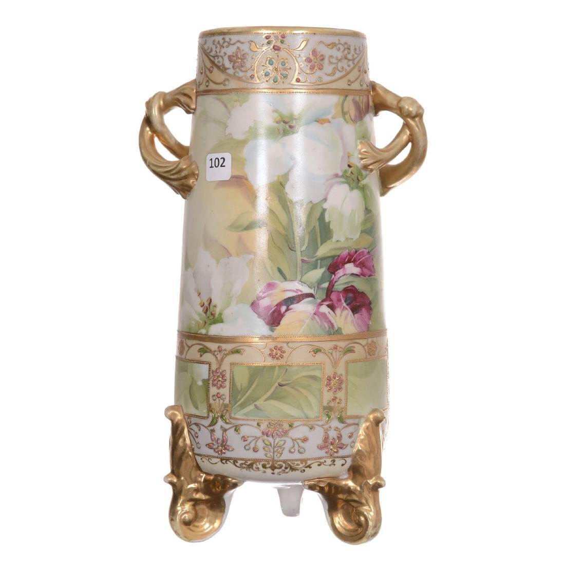 Nippon Three-Footed Two-Handled Vase