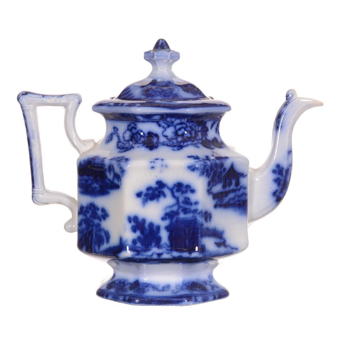 Flow Blue Hong Kong Pattern Tea Pot