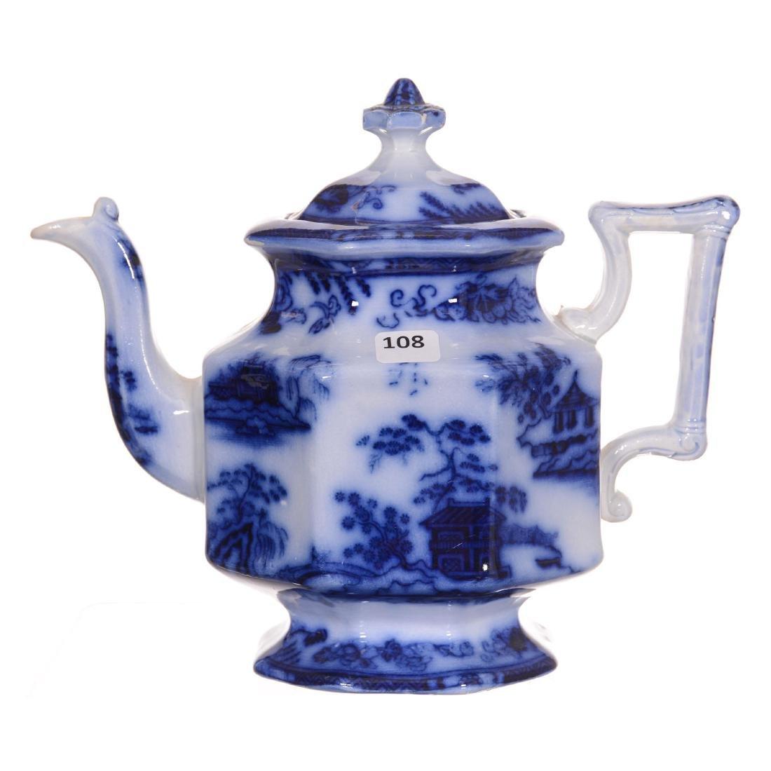 Flow Blue Hong Kong Pattern Tea Pot - 2