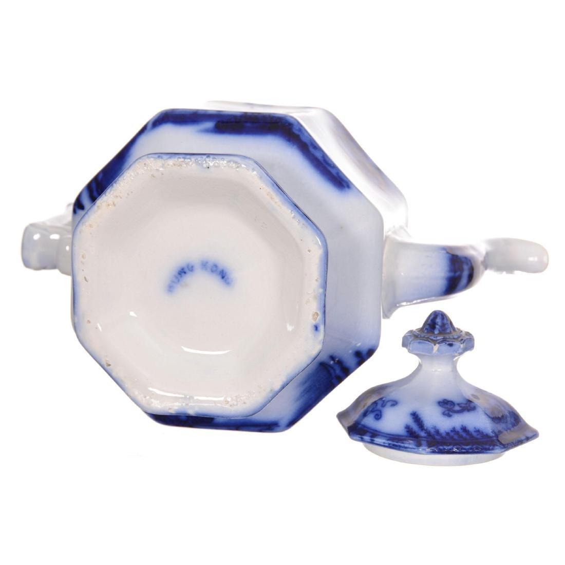 Flow Blue Hong Kong Pattern Tea Pot - 3